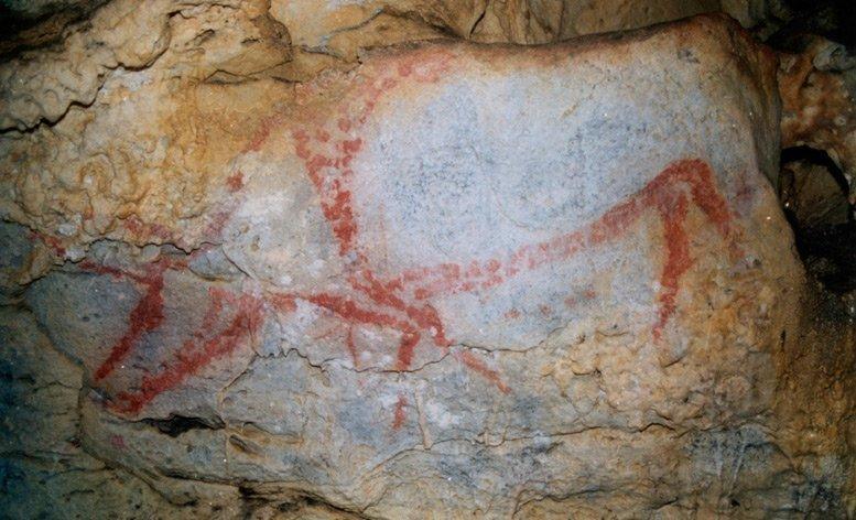 Pintura rupestre hallada en la Cueva de Covalanas.