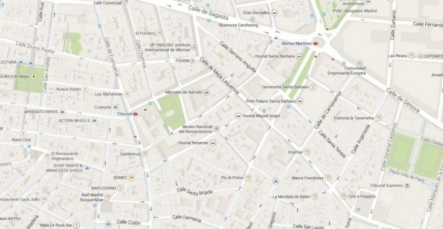 mapa museo romanticismo